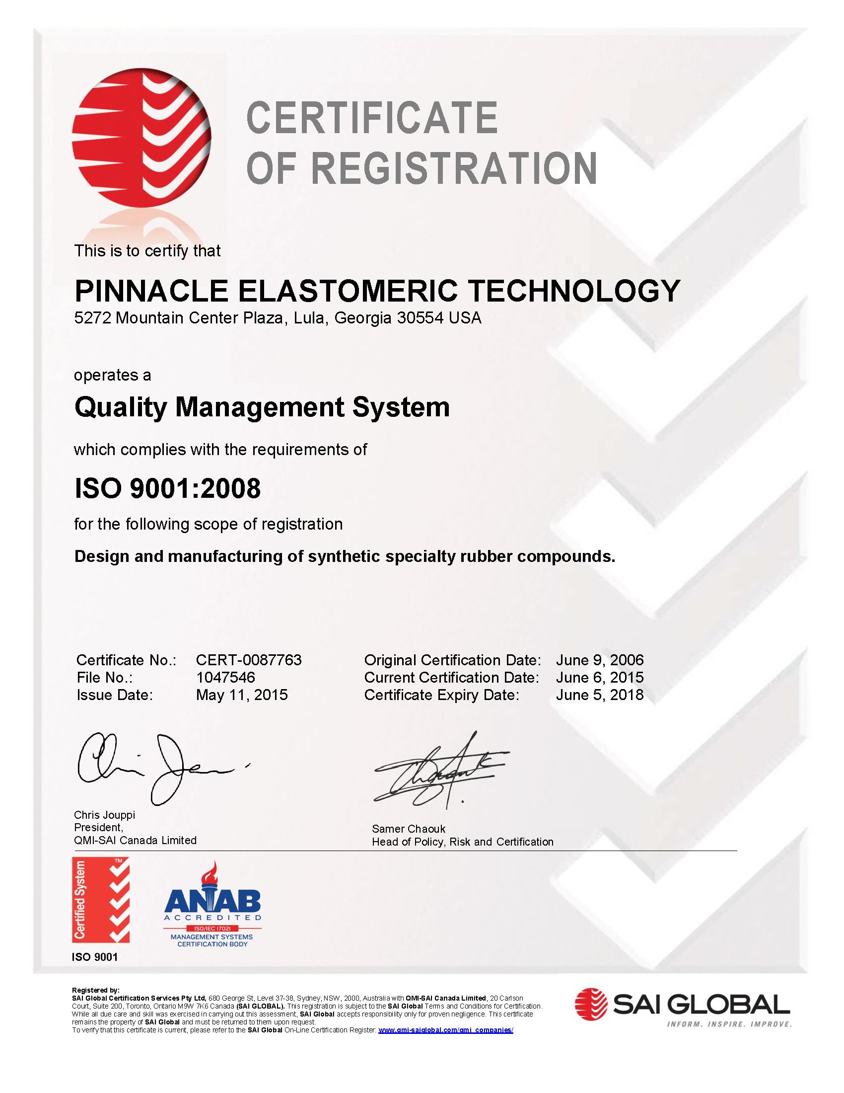 Pinnacle Elastomers - ISO 9001 certified